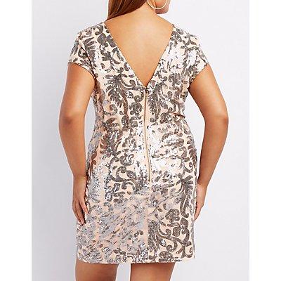 Plus Size Sequin Open Back Bodycon Dress