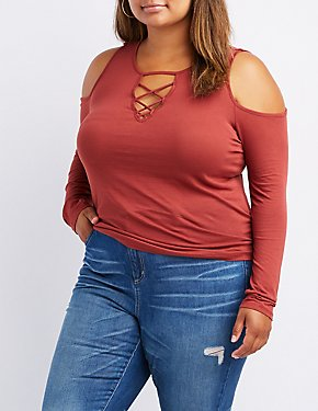 Plus Size Lattice-Front Cold Shoulder Top