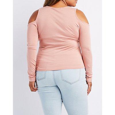 Plus Size Lattice-Front Cold Shoulder Top