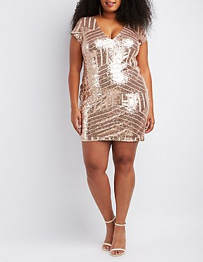 Plus Size Sequins Bodycon Dress