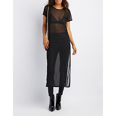 Mesh Side-Slit Tunic Top