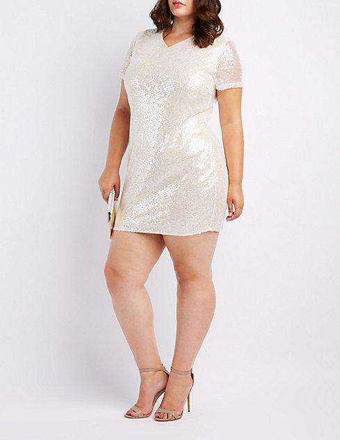 Plus Size Sequin Shift Dress Charlotte Russe