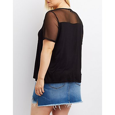 Plus Size Mesh-Trim Lace-Up Graphic Tee