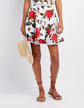 Floral Lace-Trim Skater Skirt