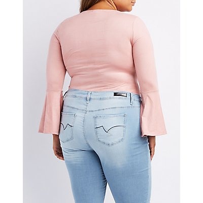 Plus Size Faux Suede Bell Sleeve Bodysuit