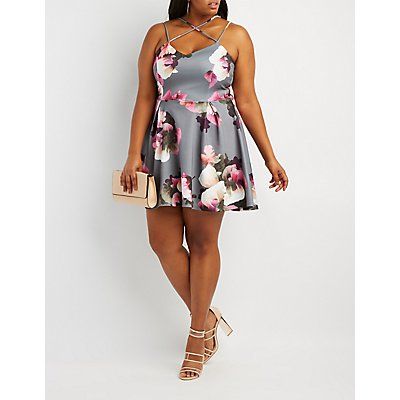 Plus Size Floral Strappy-Back Skater Dress
