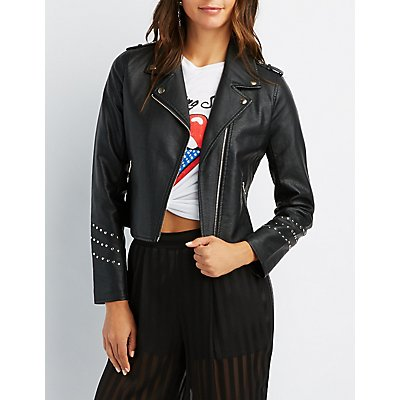 Studded Faux Leather Jacket