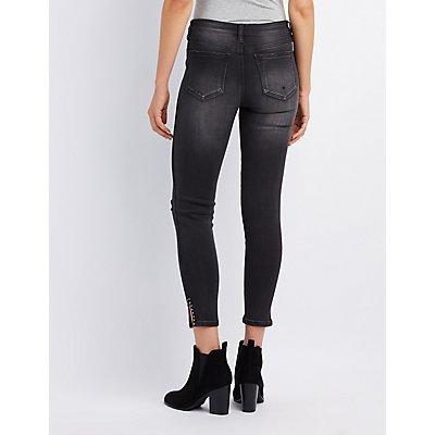 Studded Destroyed Skinny Jeans