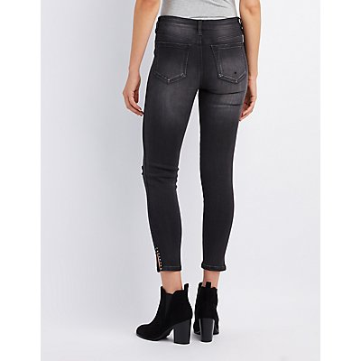 Studded Destroyed Skinny Jeans