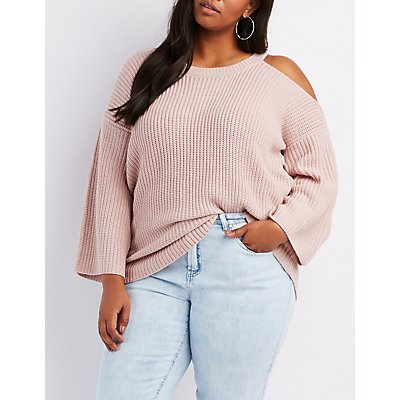 Plus Size Shaker Stitch Asymmetrical Cold Shoulder Sweater