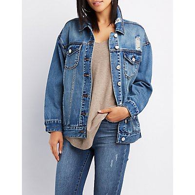 Refuge Oversized Distressed Denim Jacket