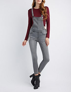 Refuge Zipper-Trim Destroyed Denim Overalls