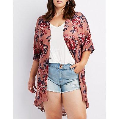Plus Size Floral Embroidered Hem Kimono