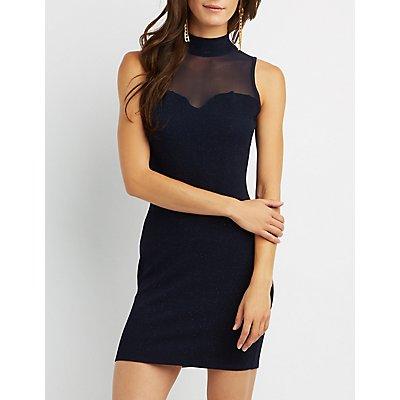 Mesh Inset Mock Neck Bodycon Dress