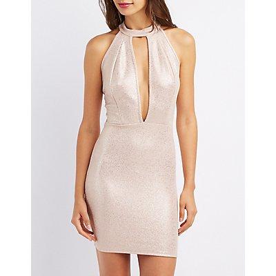 Mock Neck Open-Back Dress