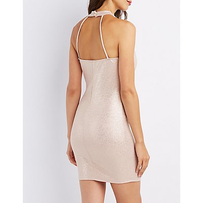 Mock Neck Open-Back Dress