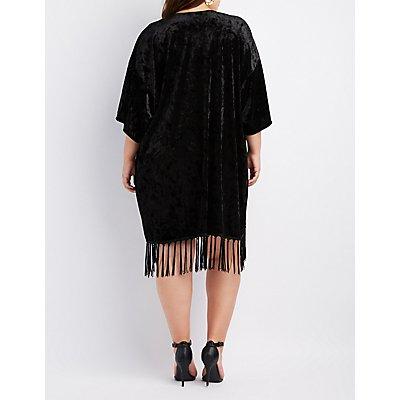 Plus Size Velvet Fringe-Hem Kimono