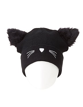 Faux Fur Cat Beanie