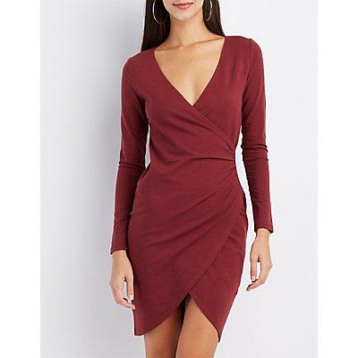 Surplice Bodycon Wrap Dress