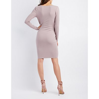 Ruched Surplice Wrap Bodycon Dress
