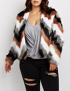 Plus Size Multicolor Faux Fur Oversize Jacket