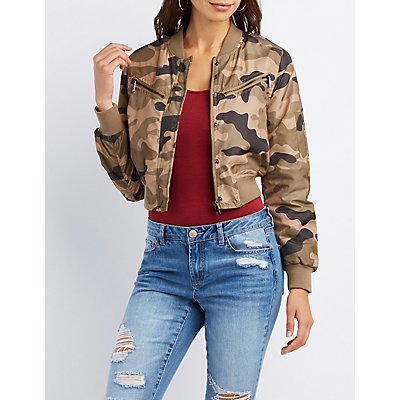 Camo Cropped Bomber Jacket