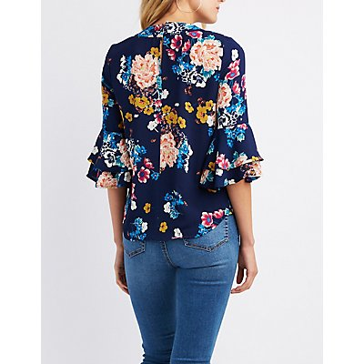 Floral Keyhole Ruffle-Trim Bell Sleeve Top