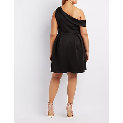 Plus Size One-Shoulder Skater Dress