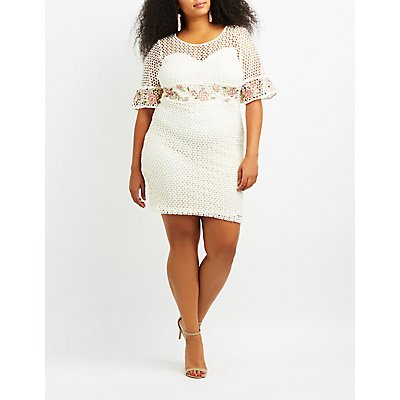 Plus Size Eyelet Crochet Bodycon Dress