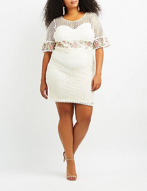 Plus Size Eyelet Crochet Bodycon Dress Charlotte Russe