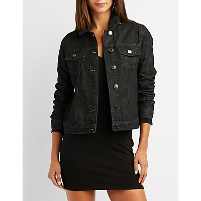 Fringe-Trim Denim Jacket