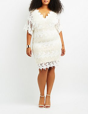 Plus Size Crochet Dolman Bodycon Dress