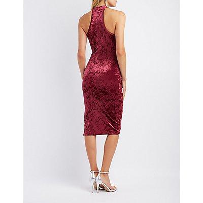 Velvet Mock Neck Bodycon Midi Dress