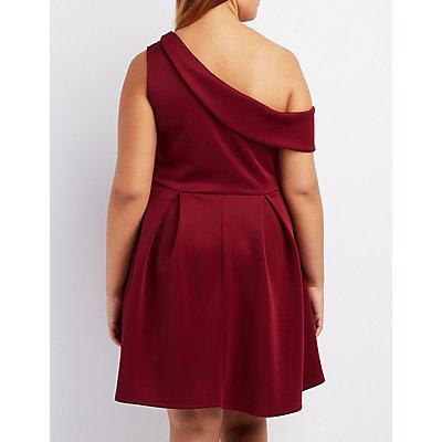 Plus Size One-Shoulder Skater Dress