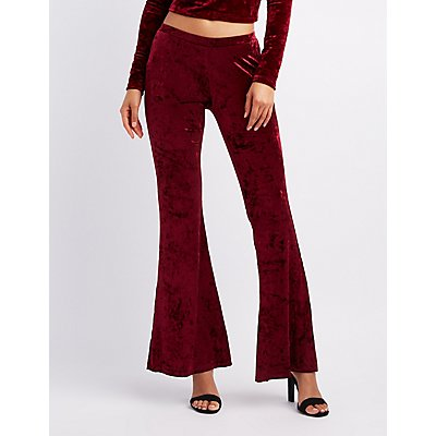 Crushed Velvet Flare Pants