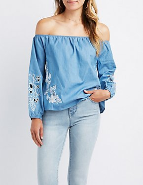 Embroidered Chambray Off-The-Shoulder Top