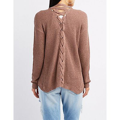 Slub Knit Lace-Up Back Cardigan