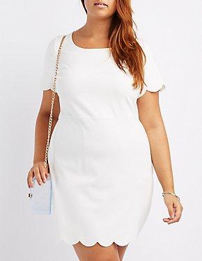 Plus Size Scalloped-Trim Bodycon Dress