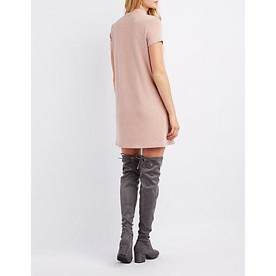 Lace-Up Neck T-Shirt Dress