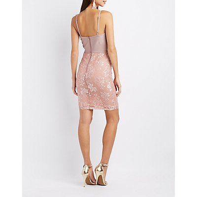 Lace Combo Bustier Bodycon Dress