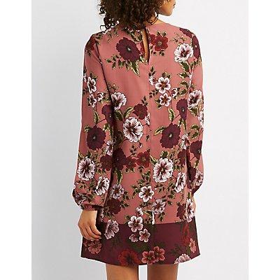 Floral Split Sleeve Shift Dress