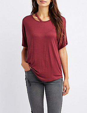 Cut-Out Neck Boyfriend Tee