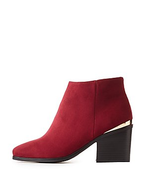 Metal-Trim Faux Suede Ankle Booties