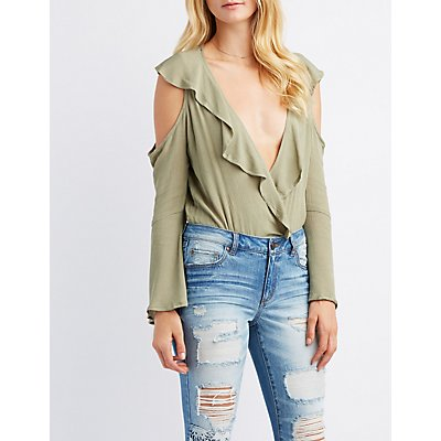 Ruffle-Trim Cold Shoulder Bell Sleeve Surplice Bodysuit