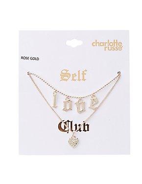 Heart & Love Pendant Necklaces - 2 Pack