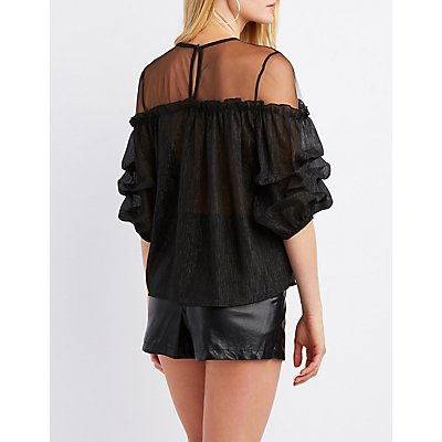 Mesh-Trim Rushed Sleeve Top