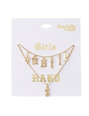 Hustle & Dollar Sign Pendant Necklaces - 2 Pack