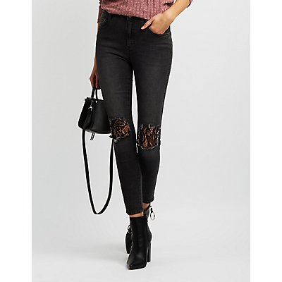Refuge Lace-Inset Skinny Jeans