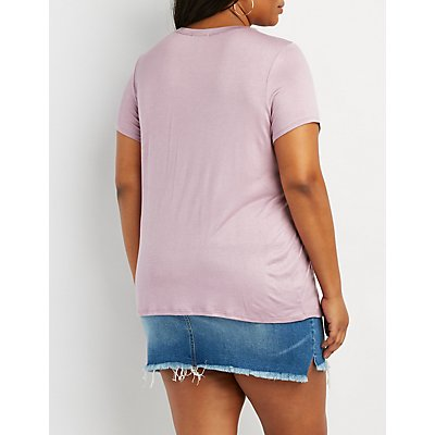 Plus Size O-Ring T-Strap Boyfriend Tee