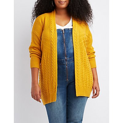 Plus Size Mixed Stitch Cardigan